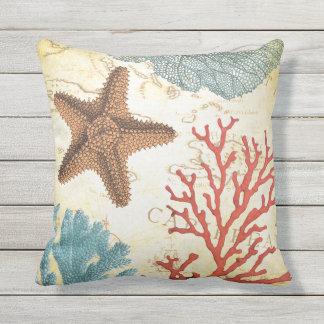 Tropische bunte karibische Starfish und Koralle Kissen
