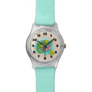 Tropische Eidechse mit Blumen Armbanduhr