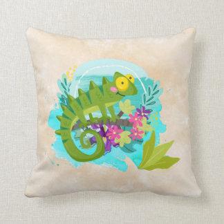 Tropische Eidechse mit Blumen Kissen