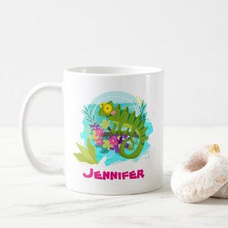 Tropische Eidechse mit den Blumen personalisiert Kaffeetasse