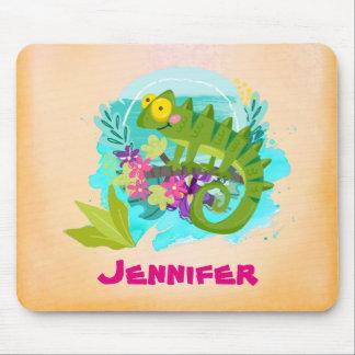 Tropische Eidechse mit den Blumen personalisiert Mousepad