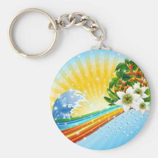 Tropische exotische Sommerferien Standard Runder Schlüsselanhänger