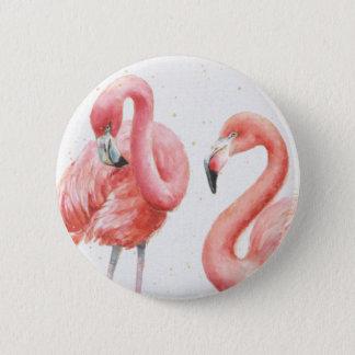Tropische   Familie der Flamingos Runder Button 5,1 Cm