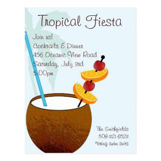 Tropische Fiesta, Cocktail-Party Einladung Postkarte