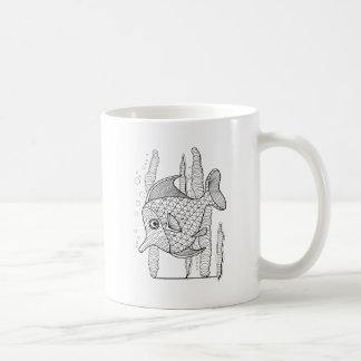 Tropische Fisch-Linie Kunst-Entwurf Kaffeetasse