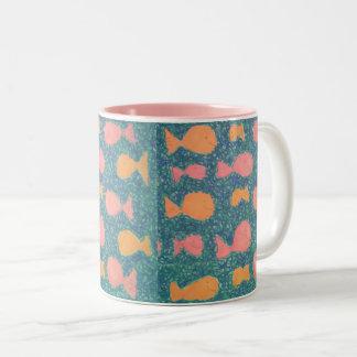 Tropische Fisch-Muster-Tasse Zweifarbige Tasse