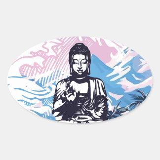 Tropische Gebirgswelle Buddhas Ovaler Aufkleber