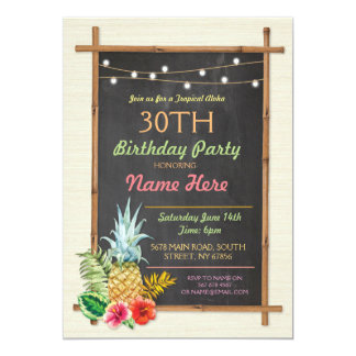 Tropische Geburtstags-Party Luau Aloha Tiki 12,7 X 17,8 Cm Einladungskarte