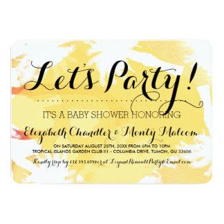 Tropische gelbe Babyparty laden ein 12,7 X 17,8 Cm Einladungskarte