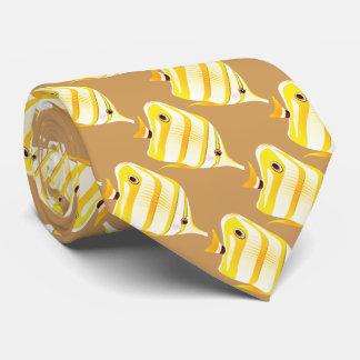 tropische gelbe gestreifte Fische Bedruckte Krawatte