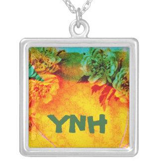 Tropische Grenzmonogrammhalskette Halskette Mit Quadratischem Anhänger