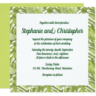Tropische grüne und weiße Hochzeit Karte