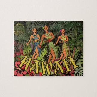 Tropische HawaiiblumenAloha Kunst-Druck-Postkarte Puzzle