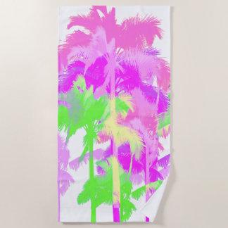 Tropische Hitzewelle-hawaiische Neonpalmen -weiß Strandtuch