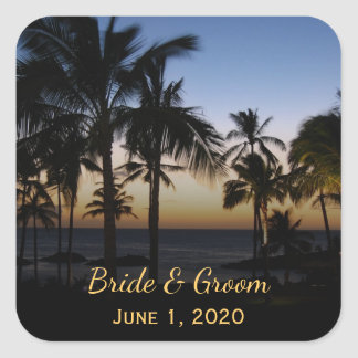 Tropische Hochzeit in Urlaubsorts-Aufkleber Quadratischer Aufkleber