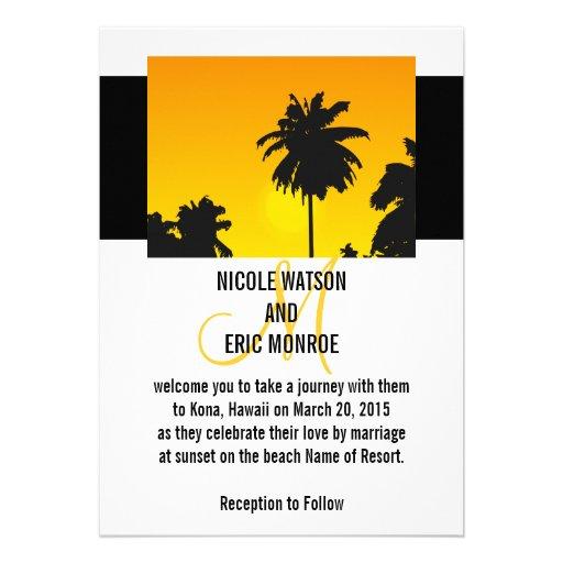 Tropische Hochzeits-Einladungs-Palmen Ankündigungen
