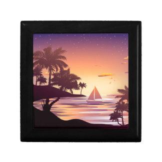 Tropische Insel am Sonnenuntergang Geschenkbox