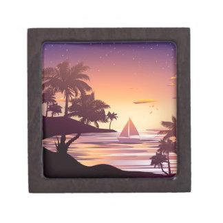Tropische Insel am Sonnenuntergang Kiste