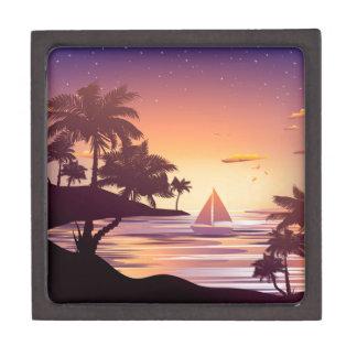 Tropische Insel am Sonnenuntergang Schachtel