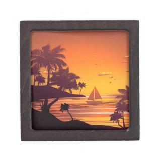 Tropische Insel an Sonnenuntergang 2 Kiste