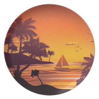 Tropische Insel an Sonnenuntergang 2 Melaminteller