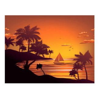 Tropische Insel an Sonnenuntergang 2 Postkarte