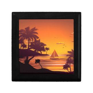 Tropische Insel an Sonnenuntergang 2 Schmuckschachtel