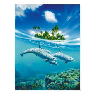 Tropische Insel-Fantasie-Postkarte Postkarten