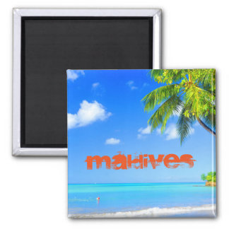 Tropische Insel in Malediven Quadratischer Magnet