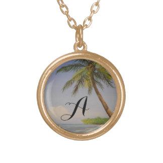 Tropische Insel-Palme-Monogramm-Buchstabe-Initiale Halskette Mit Rundem Anhänger