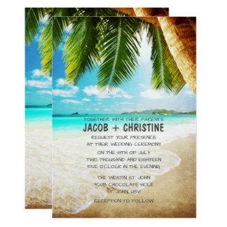 Tropische Insel-Strand-Hochzeits-Einladung Karte