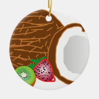 Tropische Kiwi-Kokosnüsse Keramik Ornament
