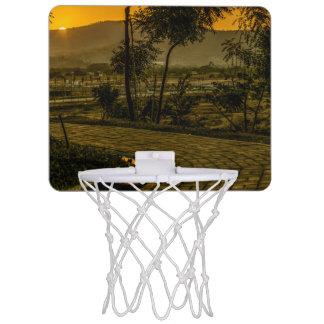 Tropische Landschaftssonnenuntergang-Szene Mini Basketball Netz