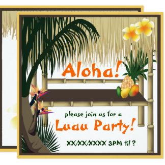 Tropische Luau Party Tiki Hütten-Einladung Quadratische 13,3 Cm Einladungskarte