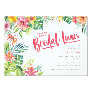 Tropische Luau Watercolor-Brautparty-Einladung Karte