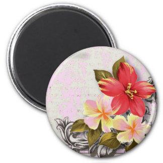 tropische mit Blumenhochzeit Vintagen Runder Magnet 5,7 Cm