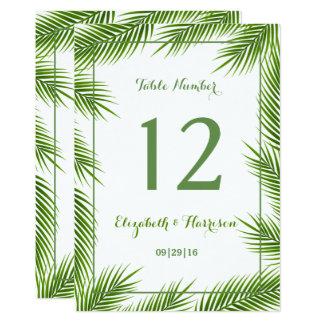 Tropische Palmblatt-Strand-Hochzeits-Tischnummer Karte