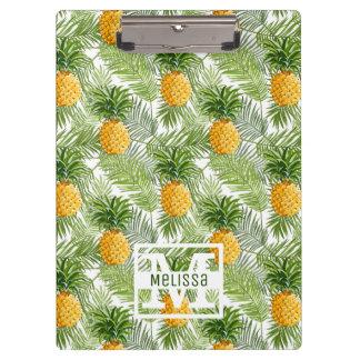 Tropische Palmblätter u. Ananas | addieren Ihren Klemmbrett