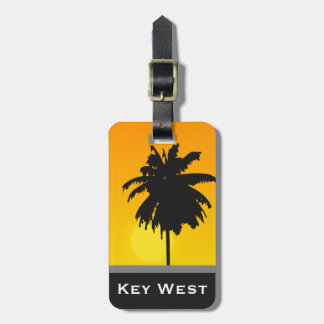 Tropische Palme-goldene Sonnenuntergang-Key Kofferanhänger