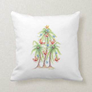 Tropische Palme mit Krabbe verziert Kissen