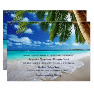 Tropische Palme-Strand-Hochzeits-Einladung Karte