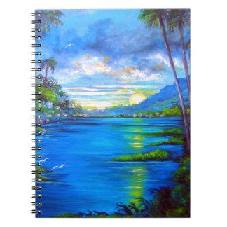 Tropische Palmen blau Spiral Notizblock