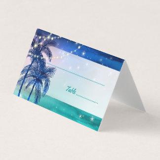 Tropische Palmen der Strand-Hochzeits-Platzkarte-| Platzkarte