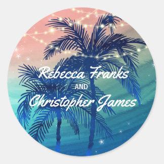 Tropische Palmen des Strand-Hochzeits-Umschlag Runder Aufkleber
