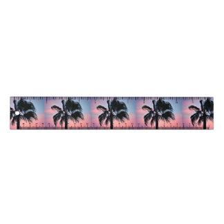Tropische Palmen gegen einen Lineal