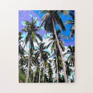 Tropische Palmen. Posterised Entwurf Puzzle