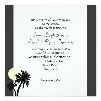 Tropische Palmen, Schwarzweiss-Hochzeits-Einladung