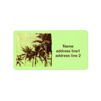 tropische Palmenflucht Adressaufkleber