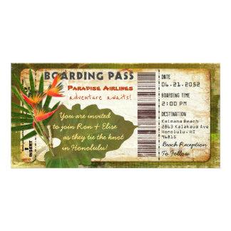 Tropische Paradies-Boarding-Durchlauf-Einladung Karte