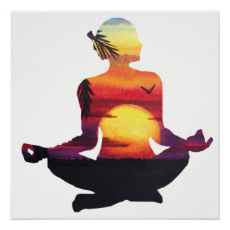 Tropische Paradies-Strand-Yoga-Pose-Meditation Poster
